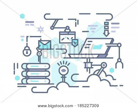 Cloud data storage on internet. Access to information. Vector illustration
