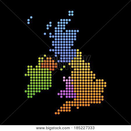 Map of United Kingdom and Ireland Vector Colorful Icon isolated on Black Background.