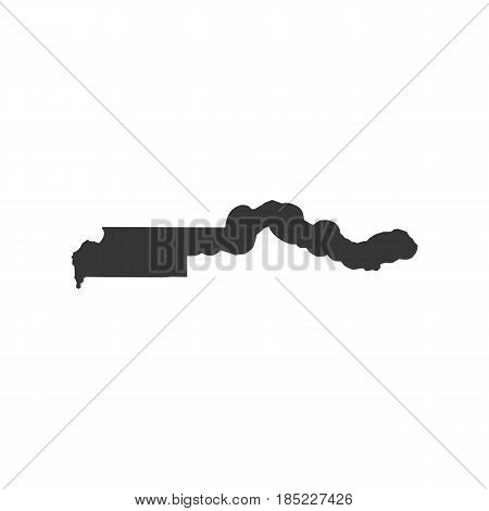 Gambia map on the white background. Vector illustration