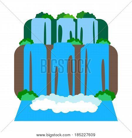 Iguazu Falls on the white background. Argentina. Vector illustration