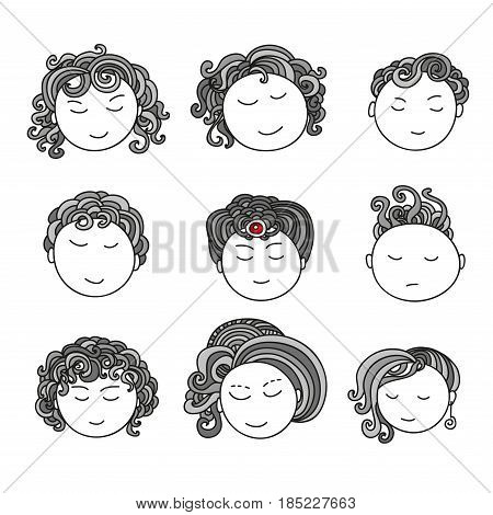 Set of nine different cute hand drawn faces. Doodle collection of avatars. Artistic design elements. Vector Illustration isolated on background.