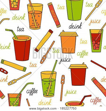 Seamless pattern with drinks. Tea, coffee, soda and lettering by hand. Vector illustration in cartoon style.