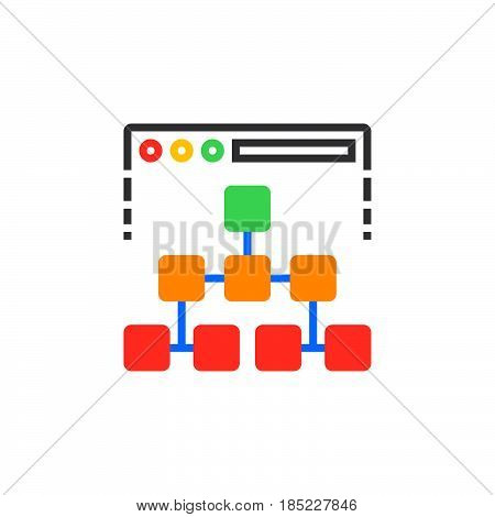 Site Map Icon Vector, Filled Flat Sign, Solid Colorful Pictogram Isolated On White, Logo Illustratio