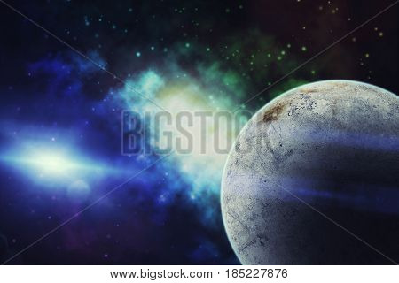 Universe Filled With Star, Nebula, Ice Planet  And Galaxy