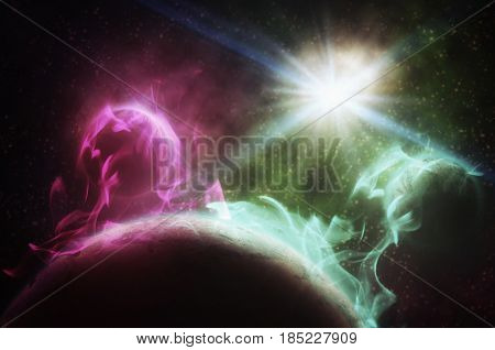 Universe Filled With Star, Nebula,  Planet  And Galaxy