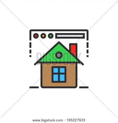Homepage Symbol. Web Browser And Home Line Icon, Filled Outline Vector Sign, Linear Colorful Pictogr