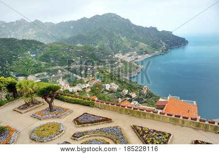 Ravello panoramic view of Villa Rufolo gardens and the Amalfi Coast Italy
