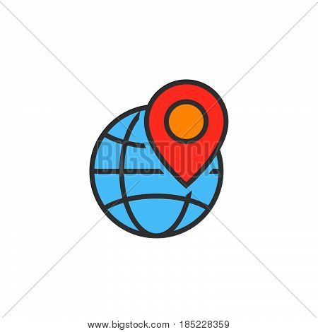 Local Seo Symbol. Globe And Location Marker Line Icon, Filled Outline Vector Sign, Linear Colorful P