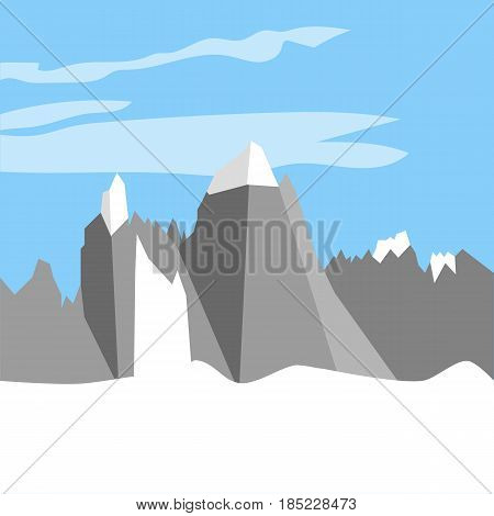 Monte Fitz Roy Mountain. Argentina mountains. Vector illustration
