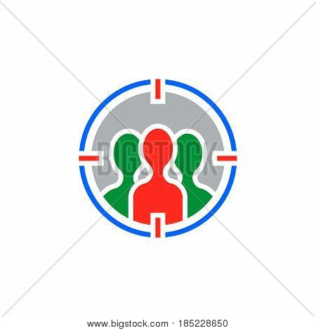Audience Targeting Icon Vector, Filled Flat Sign, Solid Colorful Pictogram Isolated On White, Logo I