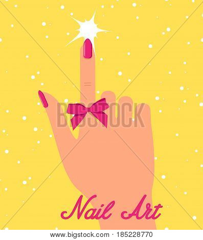 Woman hand with pink fingernails and pink bow on yellow background.