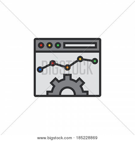 Website Optimisation Line Icon, Filled Outline Vector Sign, Linear Pictogram Isolated On White. Logo