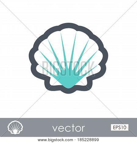 Seashell outline vector icon. Beach. Summer. Summertime. Vacation eps 10