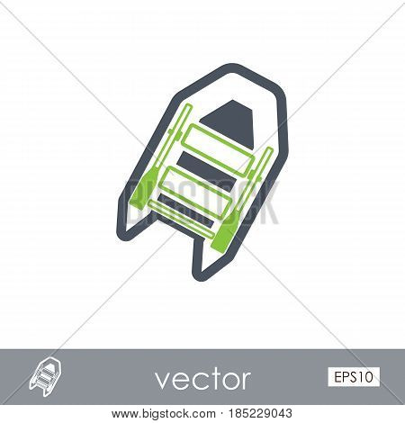 Inflatable boat outline vector icon. Beach. Summer. Summertime. Vacation eps 10