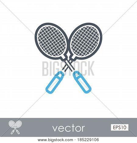 Badminton Racket outline vector icon. Beach. Summer. Summertime. Vacation eps 10