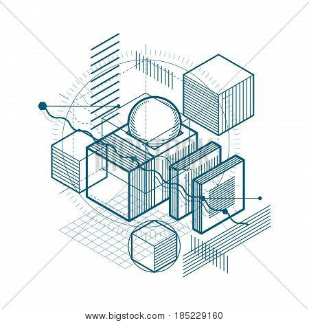 Isometric Abstract Background With Lines And Other Different Elements, Vector Abstract Template. Com