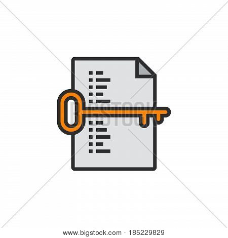 Keyword List Symbol. Key And Document Line Icon, Filled Outline Vector Sign, Linear Colorful Pictogr