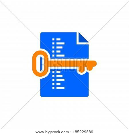 Keyword List Symbol. Key And Document Icon Vector, Filled Flat Sign, Solid Colorful Pictogram Isolat