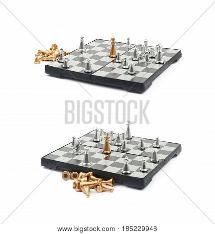 Checkmate on a board of chess, composition isolated over the white background, set of two different foreshortenings