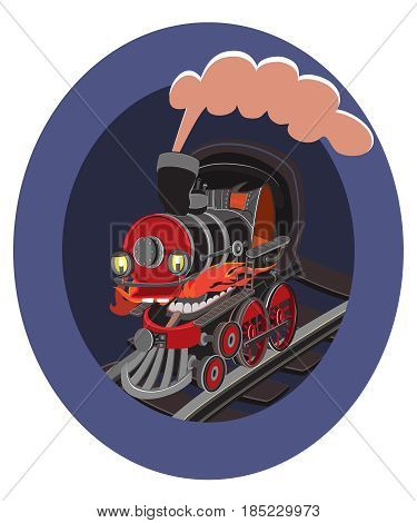 Cartoon kids toy trains, locomotive. Kids travel color locomotive, toys for transportation illustration