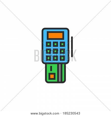 Pos Terminal Line Icon, Filled Outline Vector Sign, Linear Colorful Pictogram Isolated On White. Log