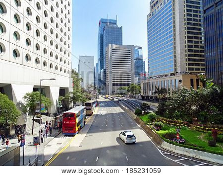 Central, Hong Kong - February 09, 2016: Little traffic on Connaught Road in Central District in Hong Kong