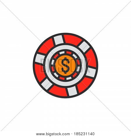 Casino Token, Gaming Chip Line Icon, Filled Outline Vector Sign, Linear Colorful Pictogram Isolated