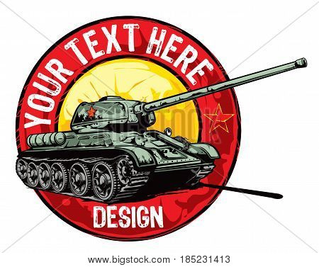 Logo design template for Soviet WW2 battle tank.