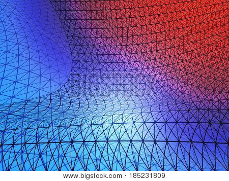 Abstract red and blue grid net. 3D Rendering