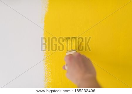 Decorator's hand painting wall with brush
