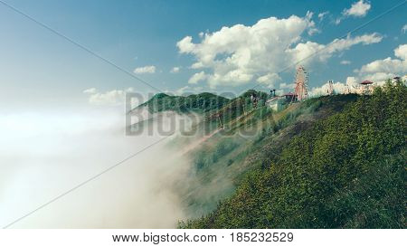 Stunning mountain scenery and green fields with a cableway. Gelendzhik North Caucasus Russia