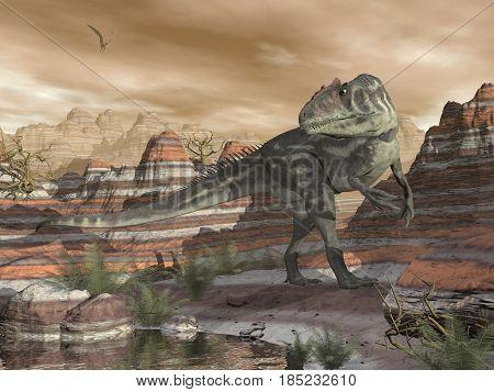 Allosaurus dinosaur walking in the desert canyon by sunset - 3D render