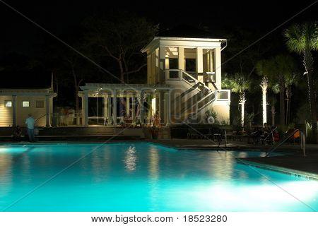 Pool at night poster