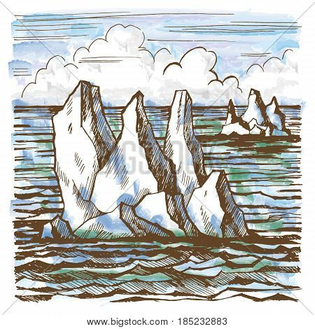 Iceberg sketch hand-drawn cartoon landscape in Antarctica. Stylized watercolor illustration.