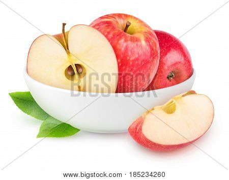Isolated Red Apples In A Bowl
