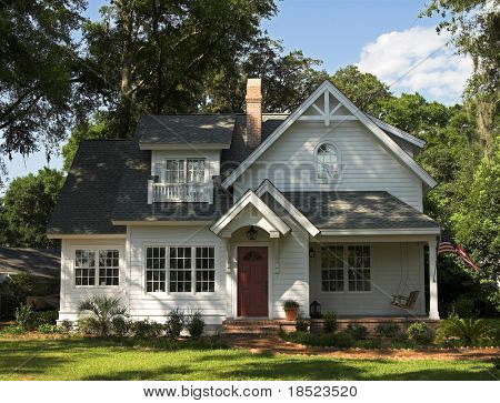 quaint two story home, exterior front view