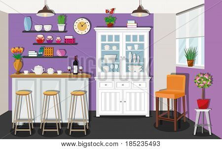 Modern cozy graphic dining room interior design with cupboard, table, chairs, dishes and window. Flat style vector illustration.