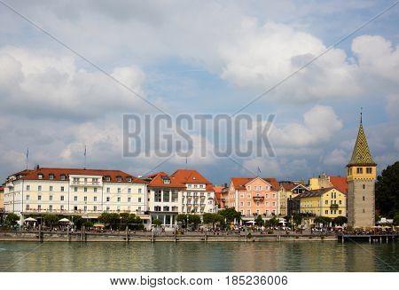 View at the harbour of Lindau at the Bodensee, Germany