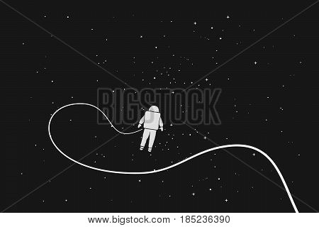 Astronaut alone in outer space.Science theme.Vector illustration
