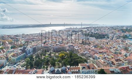 Aerial landscape view of the front of the Basilica da Estrela and Madragoa and Bairro Alto neighbourhood.Beautiful Mediterranean capital city of Portugal, Lisbon.