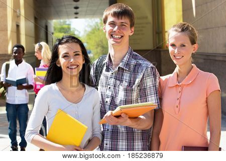 Group of multi-ethnic students outside