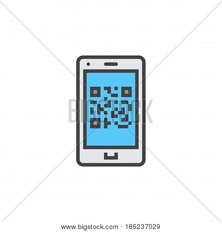 Qr Code On Smartphone Line Icon, Filled Outline Vector Sign, Linear Colorful Pictogram Isolated On W