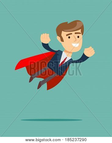 Businessman in superhero concept with red cover. Stock flat vector illustration.