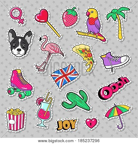 Fashion Girls Badges, Patches, Stickers with Flamingo Bird, Pizza Parrot and Heart. Vector illustration