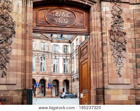 STRASBOURG FRANCE - MAY 7 2017: French Hotel de Ville gate entrance polling station during the second round of the French presidential election to choose between Emmanuel Macron and Marine Le Pen