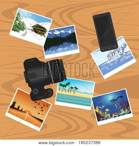 photocamera, smartphone and photographs on the table, flat style banner, travel and vacation concept