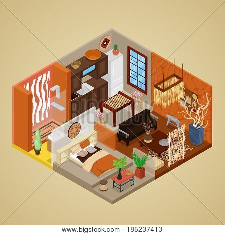 African Style Interior Design with Living Room and Kitchen. Isometric vector flat 3d illustration