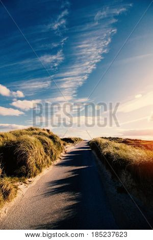 Sunny road at Balnakeil, Scotland