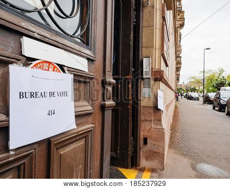 STRASBOURG FRANCE - MAY 7 2017: French city Bureau de vote polling sign entrance during the second round of the French presidential election to choose between Emmanuel Macron and Marine Le Pen