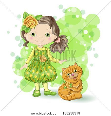 Cute cartoon girl with her pet. Vector illustration.